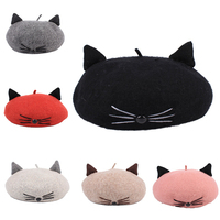 Japanese Lolita Girl Multi colour Cat Whiskers Woollen Beret Hat Cat Ears Lovely Painter Hat Female Women For Leisure Cosplay