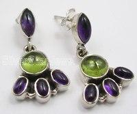 Silver AMETHYST PERIDOT Studs Earrings