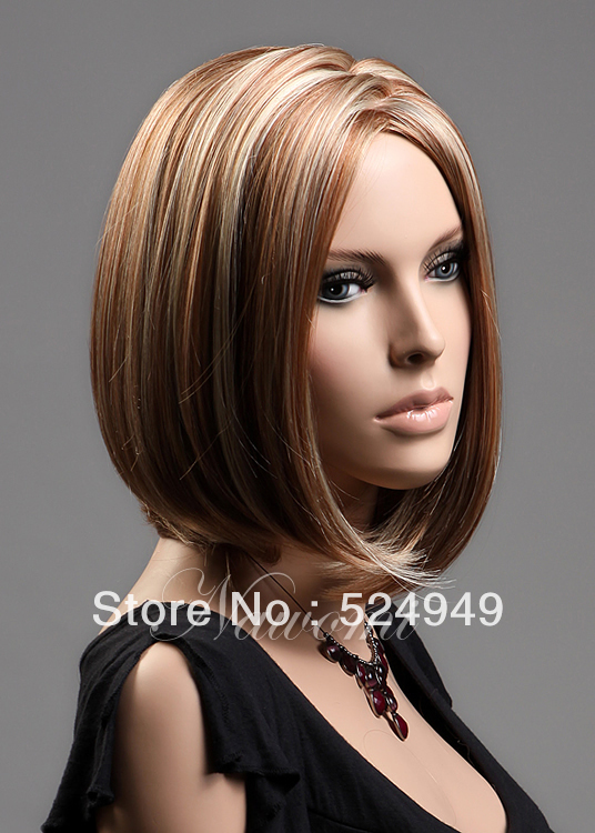 Japanese Style Bob Short Blonde Straight Synthetic Hair Two Tone