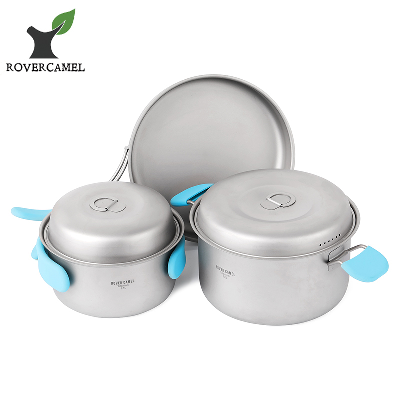 Rover Camel Titanium Cookset Outdoor Camping Hiking Backpacking Picnic Cookware Cooking Set 3pcs Pot Pan Ta8501 ds 301 outdoor camping hiking picnic cookware cooking pan pot bowl set for 2 3 person cozinha camping trip dishes