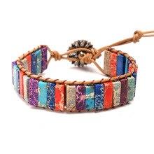 Colorful Boho Handmade Bracelet Natural Stone Wrap Chakra Single Leather Ethnic Adjustable Wristband