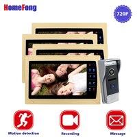 Homefong дюймов 10 дюймов проводной телефон видео домофон системы 720 P AHD Высокое разрешение дверные звонки камера 4 мониторы 1 вызова панель запис
