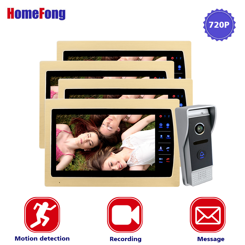 Homefong 10 Inch Wired Video Door Phone Intercom System 720P AHD High Resolution Doorbell Camera 4 Monitors 1 Call Panel Record homefong 4 inch monitor lcd color video record door phone doorbell intercom system night vision 1200tvl high resolution