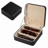 Zippered Portable Trave Glasses Jewelry Storage Black Pu Leather Fabric Lining Jewelry Set Display Case Box