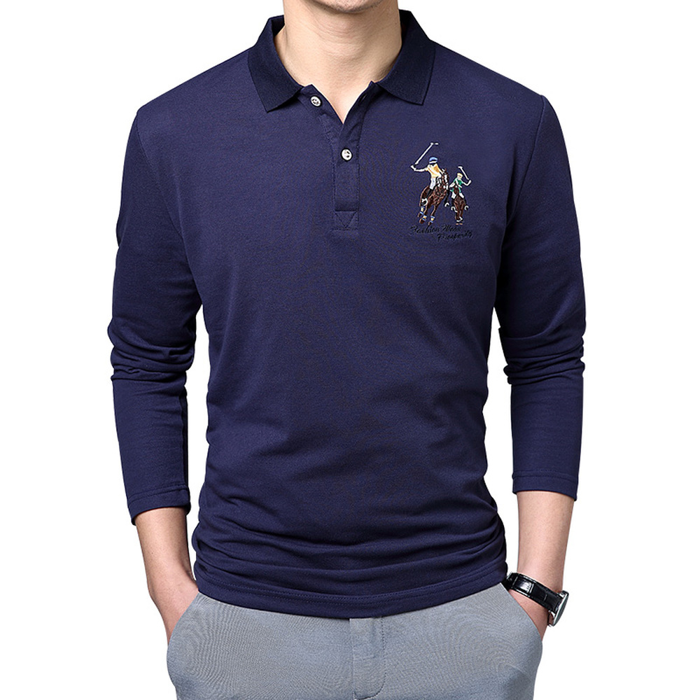 704e816f6b9 New Fashion Men s Polo Shirt Solid Color Embroidery Slim Fit Male Lapel Long  Sleeve business casual Polos Shirt