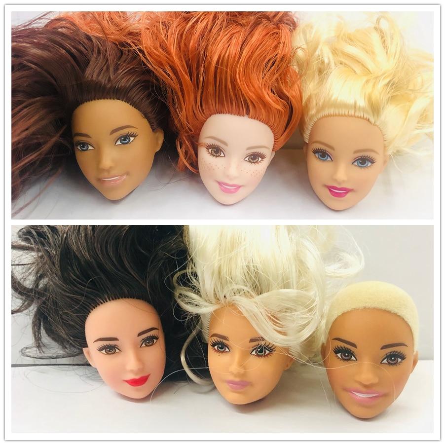 New Fashion Doll Head With Foreign Girls  Black Hair White Hair Flat Hair DIY Accessories For Big Big Eyes Head Doll Girls Gift