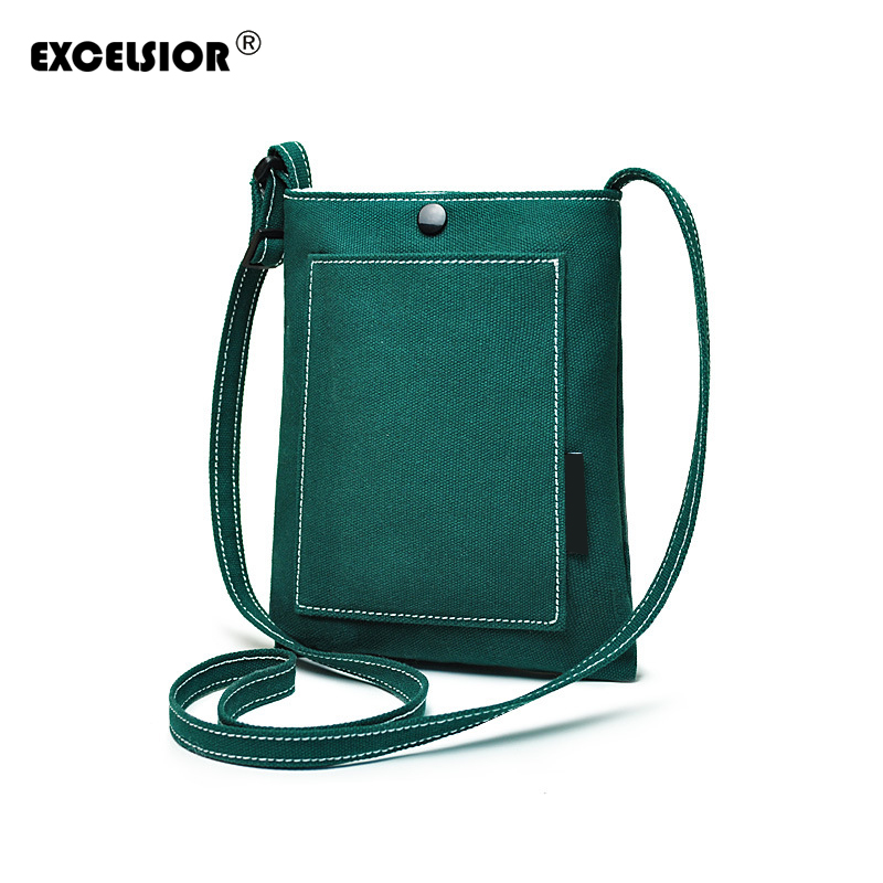 EXCELSIOR 2018 New Candy colors Women Messenger Bags Cute Fresh  Canvas Small Crossbody Bag Fashion Casual Shoulder Phone Pouch dachshund dog design girls small shoulder bags women creative casual clutch lattice cloth coin purse cute phone messenger bag