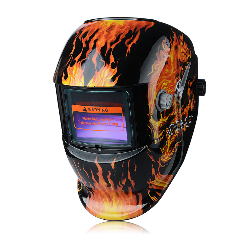 Skull Solar auto darkening MIG MMA electric welding mask/helmet/welder cap/welding lens for welding machine New Drop Shipping red standard design solar welding helmet auto darkening electric grinding welding face mask welder cap lens cobwebs and skull