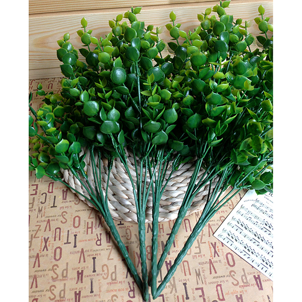 Hot New Green 7-Branches Artificial Fake Floral Plastic Eucalyptus Plant Flowers Cafe Office Home Room Decor