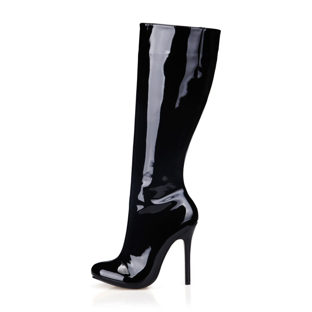 2018 women autumn winter sexy stiletto high heels knee high boots fashion black patent leather long boot female shoes size 35-43 new women dress shoes knee high boots woman round toe high heels autumn winter long boot hot fashion riding boots big size 35 43