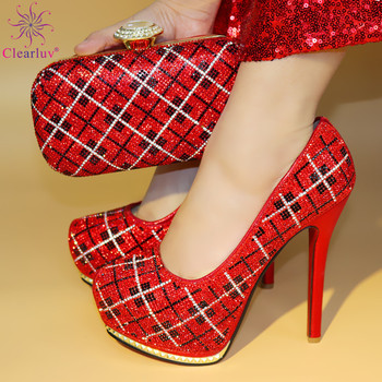 Red Color African Matching Shoes and Bags Italian In Women Shoes and Bag Set African Sets 2017 Nigerian Shoes and Matching Bags