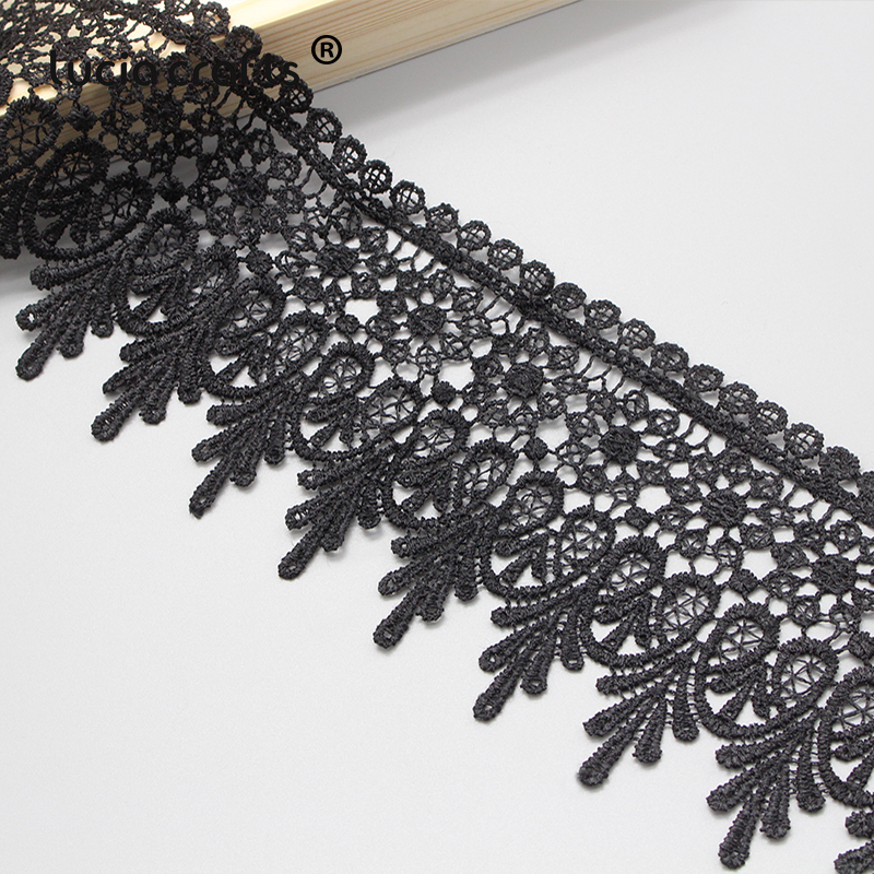 Lucia crafts 1y/2y 9cm Black/White Embroidered Net Lace Fabric Trim Ribbons DIY Sewing Handmade Craft Materials N0508