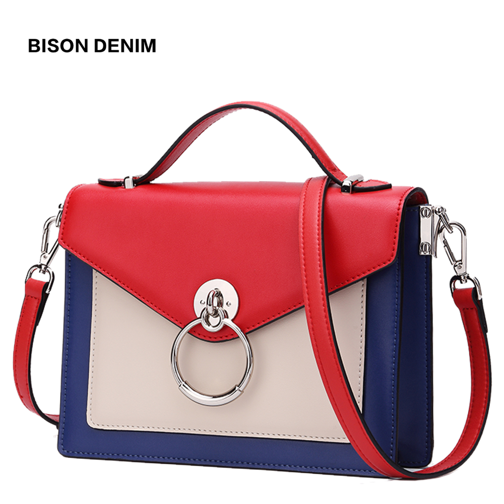 BISON DENIM Genuine Leather New Shoulder Bag High Quality Crossbody Bag for Women 2019 Luxury Handbags