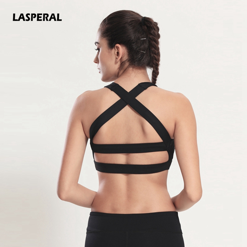 LASPERAL 2018 Solid Cross Strap Black Yoga Bra Women Padded Push Up Sports Bra Quick Dry Fitted Gym Workout Fitness Crop Top Bra
