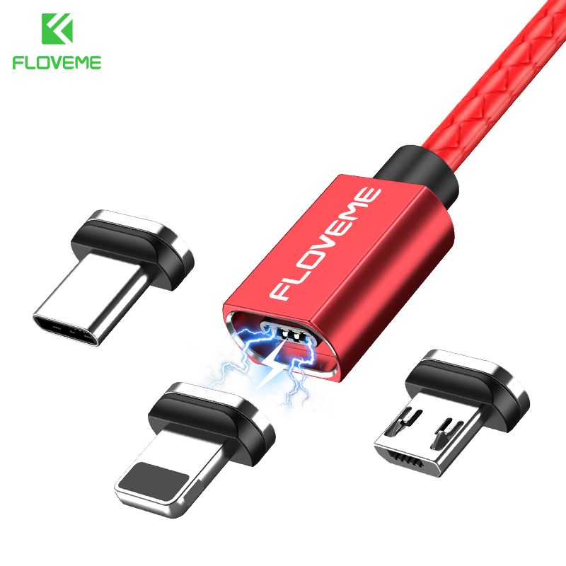 FLOVEME 3A Magnetic Cable for fast charge Micro USB Type C Cable for Poco f1 Xiaomi Magnet Charger Data Sync Phone Cables New 180 magnetic ring charging cable