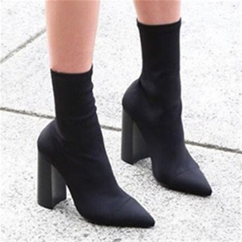 2017 Fashion Elastic Sock Ankle Boots Chunky High Heels Stretch Women Spring Autumn Sexy Booties Shoes Pointed Toe Women Botas fashion kardashian ankle elastic sock boots chunky high heels stretch women autumn sexy booties pointed toe women pumps botas