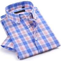 Men S Checkered Plaid Short Sleeve Dress Shirt Worn In Comfortable Pure Cotton Thin Smart Casual