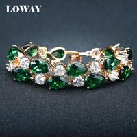 LOWAY Gold Plated Elegant Retro Charm Bracelet For Women Luxury Green AAA Zircon Femelle Bijoux SZ3840