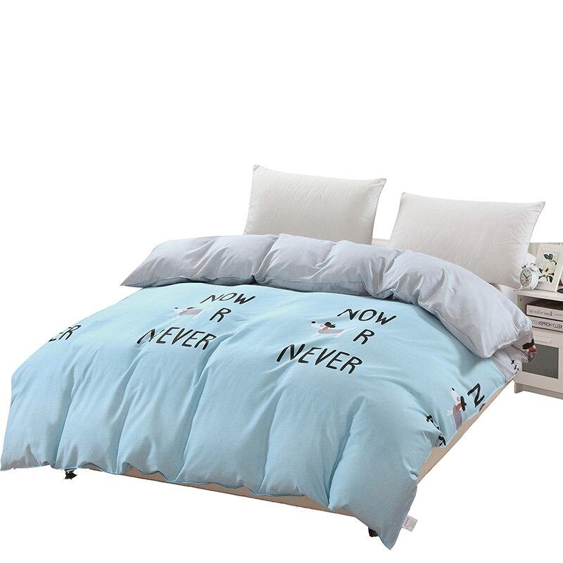 Light Blue Solid Color + Cute Dog Pattern Single Double Duvet Covers With Zipper 100% Cotton Comforter Cover 1 Pcs 220x240cm