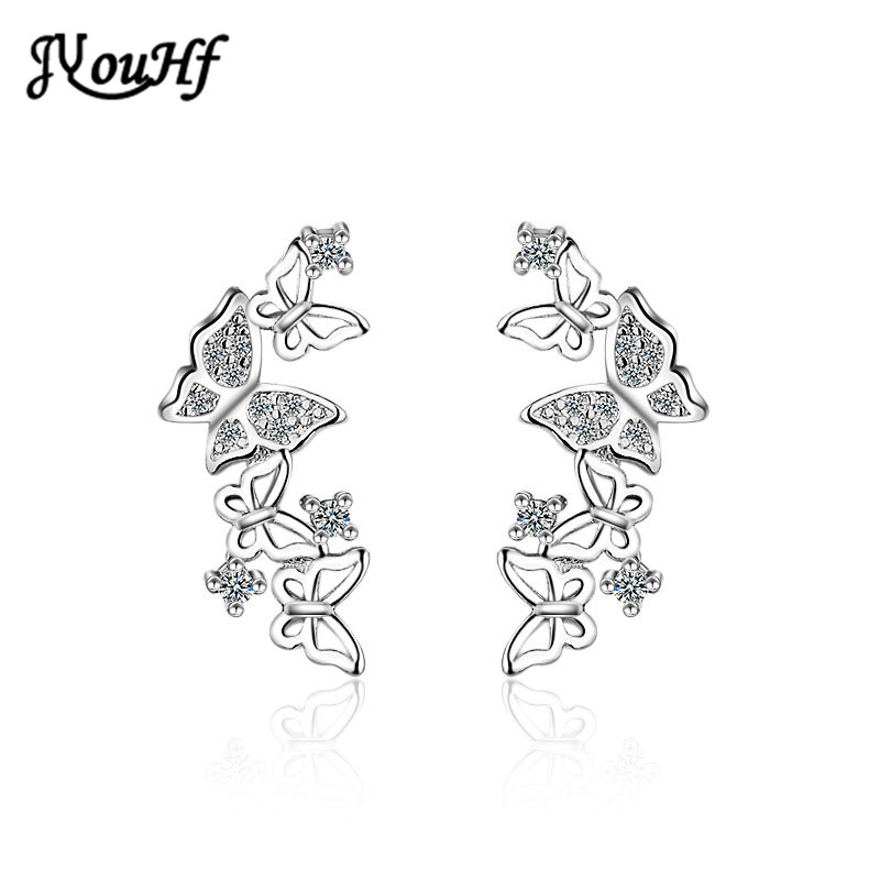 JYouHF Butterfly Stud Earrings for Women High Quality White Rose Gold Color S925 Sterling Silver Earrings Brincos Jewelry Gifts