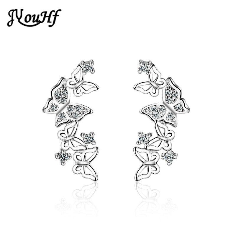 JYouHF Schmetterling Stud Ohrringe für Frauen Hohe Qualität Weiß Rose Gold Farbe S925 Sterling Silber Ohrringe Brincos Schmuck Geschenke