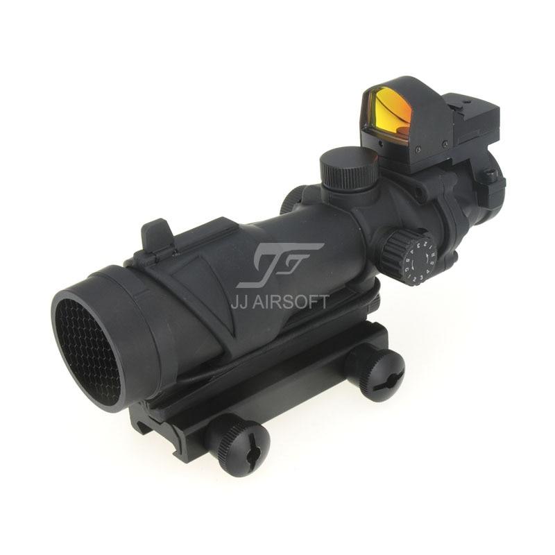 JJ Airsoft ACOG Style 4x32 Rozsah osvětlení s Docter Mini Red Dot & Killflash / Kill Flash (černý) ZDARMA DOPRAVA