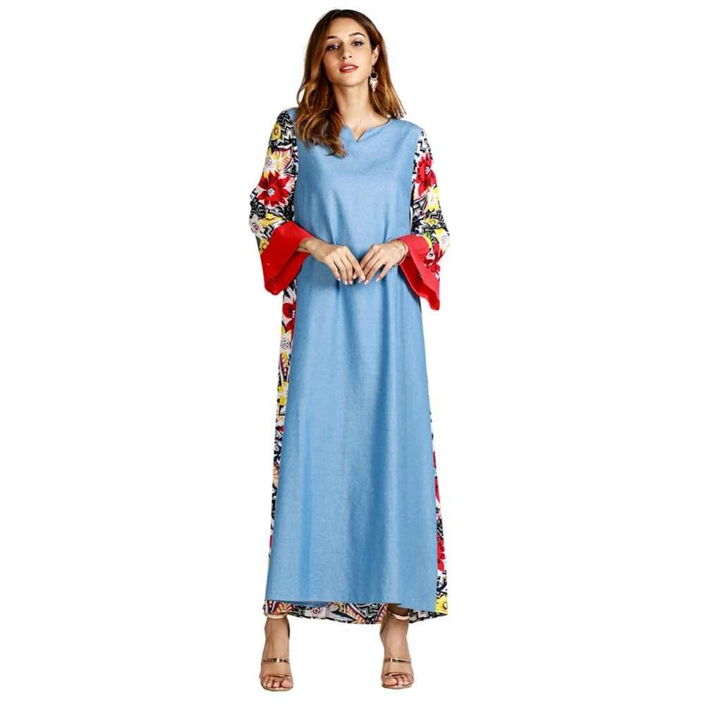 a2008472c0 Casual Denim Jeans Abaya Print Floral Dress Full Length Muslim Long Robe  Gowns Kimono Ramadan Middle