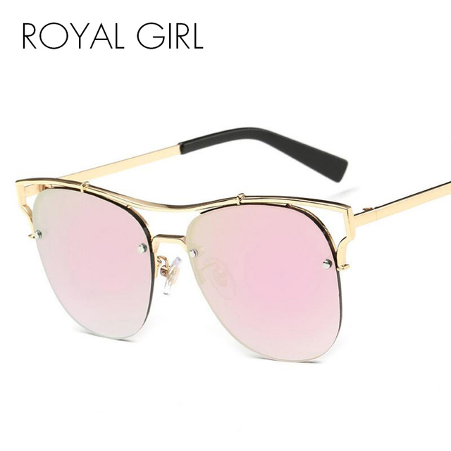 ROYAL GIRL Half Alloy Frame Cat Eye Sunglasses Women Brand Designer Summer  Style Glasses Oculos De a1e1a93dd9