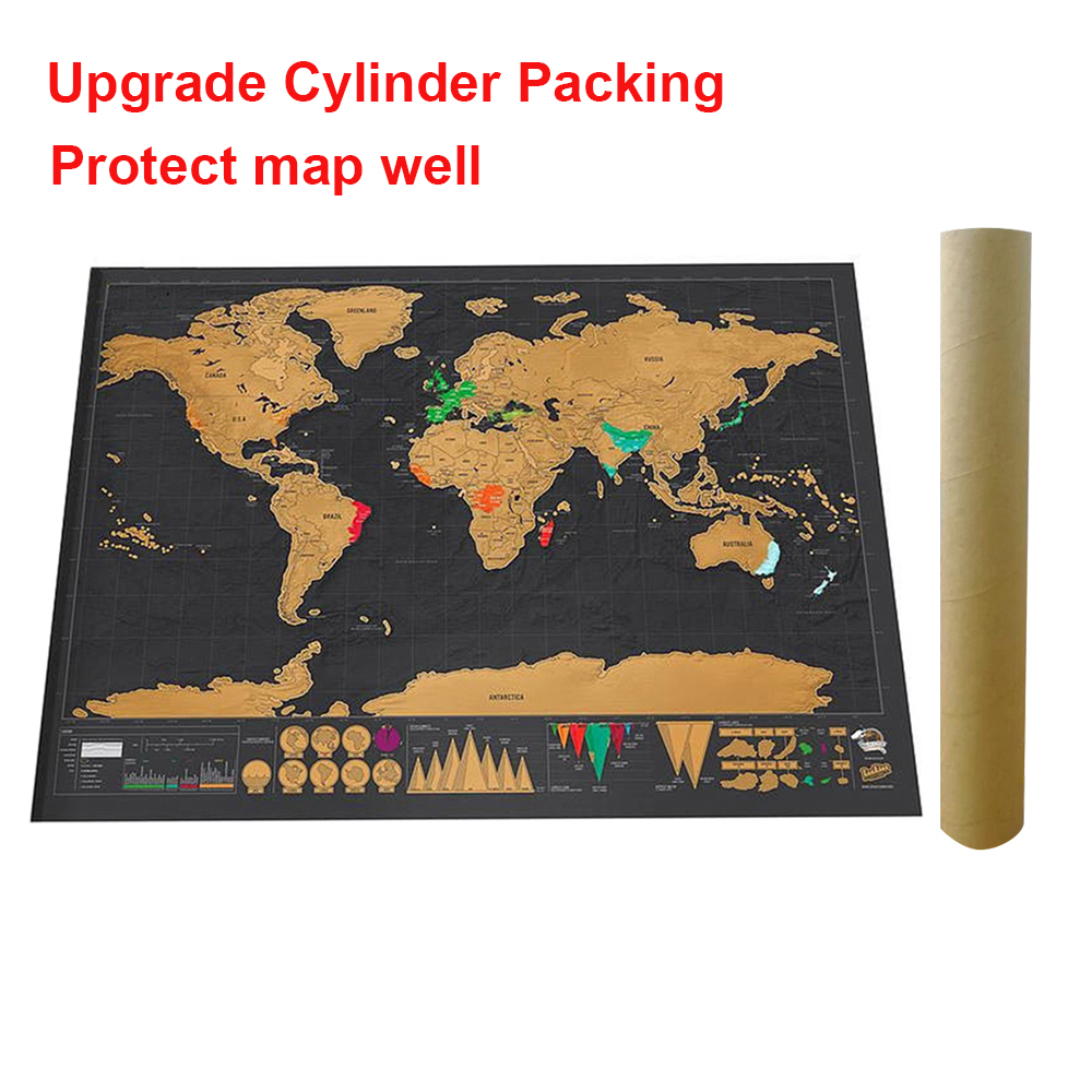 Deluxe Erase Black World Map Scratch Off World Travel Map Poster Copper Foil Personalized Journal Log With Cylinder Packing