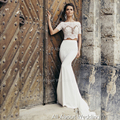 Mermaid Two Piece Short Sleeve Wedding Dresses Boat Neck Illusion Lace Crop Top Bridal Gown Factory Custom Made
