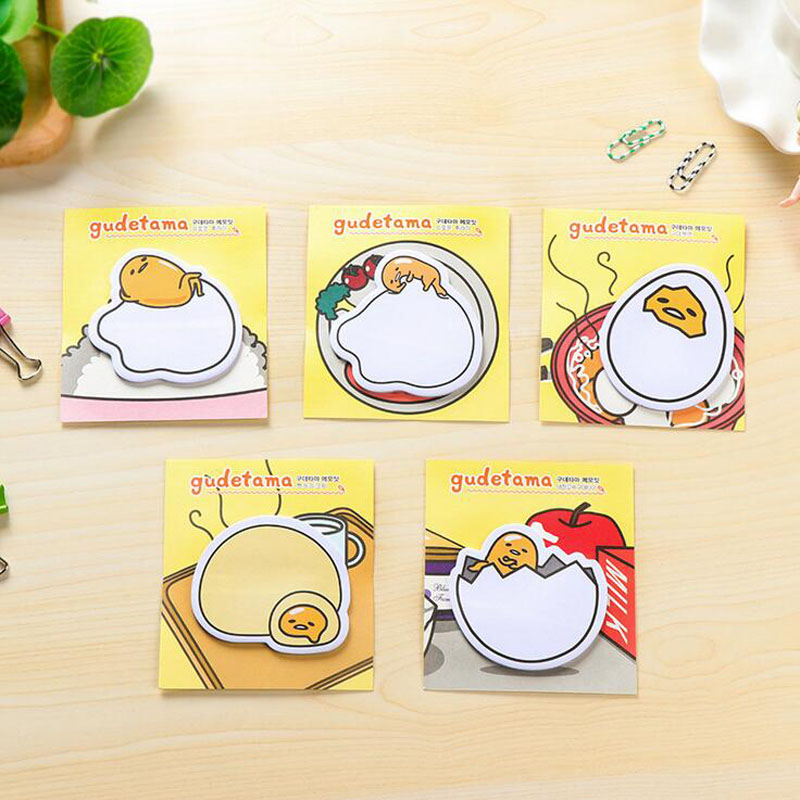 Y34 4X Cute Kawaii Gudetama Lazy Egg Self-Adhesive Memo Pads Sticky Notes Post It Decorative Bookmark School Office Supply kitmmm559unv55400 value kit post it easel pads self stick easel pads mmm559 and universal economy woodcase pencil unv55400