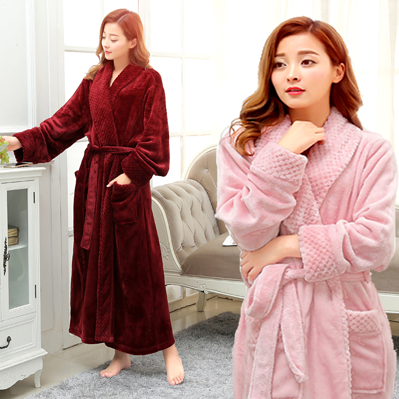 a4ed93f7f7 Autumn and winter thickening flannel lovers bathrobe male women s plus size  ultra long robe coral fleece sleepwear lounge -in Robes from Underwear ...