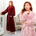 Autumn and winter thickening flannel lovers bathrobe male women's plus size ultra long robe coral fleece sleepwear lounge