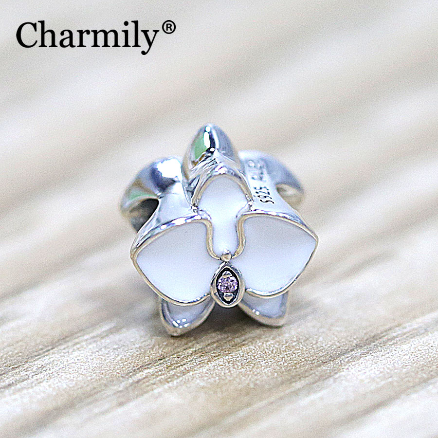 Orchid Trellis New Diamontrigue Jewelry: Charmily Jewelry 2017 New 925 Sterling Silver White Enamel