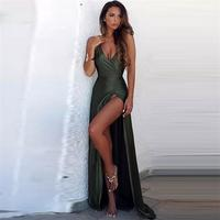 Sexy Backless Evening Dresses Long Satin Party Gowns Party Vestidos Robe De Soiree Evening Abendkleider Formal Dress Woman