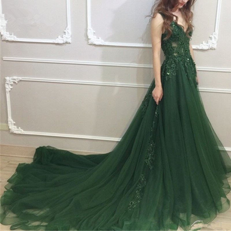Backless muslim evening   dresses   2018 a line V-neck lace tulle islamic green Dubai Saudi Arab long elegant evening   prom     dress