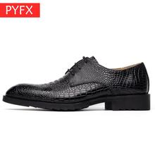 new summer business leather crocodile black flat classic Italian luxury patent design wedding  Pointed Toe dress shoes