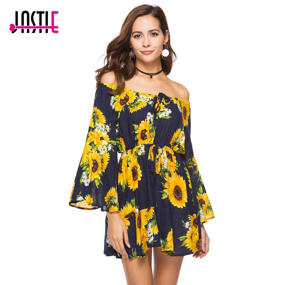 556e9b420007 Jastie Slash Neck with Tie Sexy Mini Dress Sunflower Print Summer Dress  Bohemia People Hippie Beach Dresses 2018 Women Vestidos
