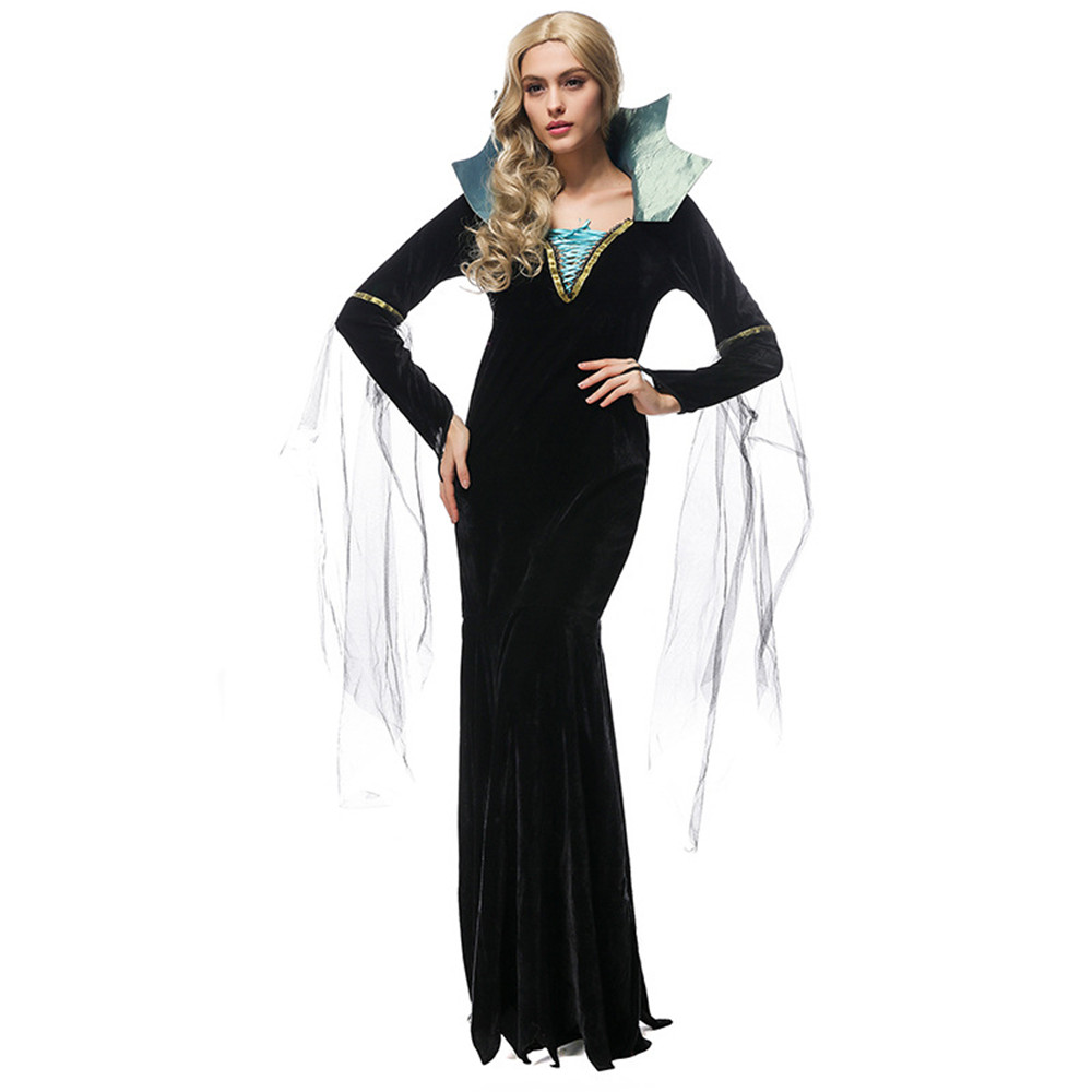 Cosplay Black Maxi-Dress Witch Vampire Festival Halloween Ghost