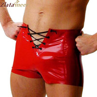 Men 100% Natural Latex Shorts Red Hot Lingerie For Boys Plus Size Sexy Rubber Boxer Shorts Customize Service LPM058