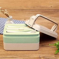 TUUTH pszenica słoma pudełko na lunch 2 i 3 warstwy mikrofalowe pudełka Bento naczynia stołowe pojemnik do przechowywania żywności pudełko na żywność w Pudełka śniadaniowe od Dom i ogród na