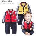 Baby boy autumn spring  romper 2 colors red yellow striped infant toddler cotton jumpsuit one piece boys baby clothing new 2016