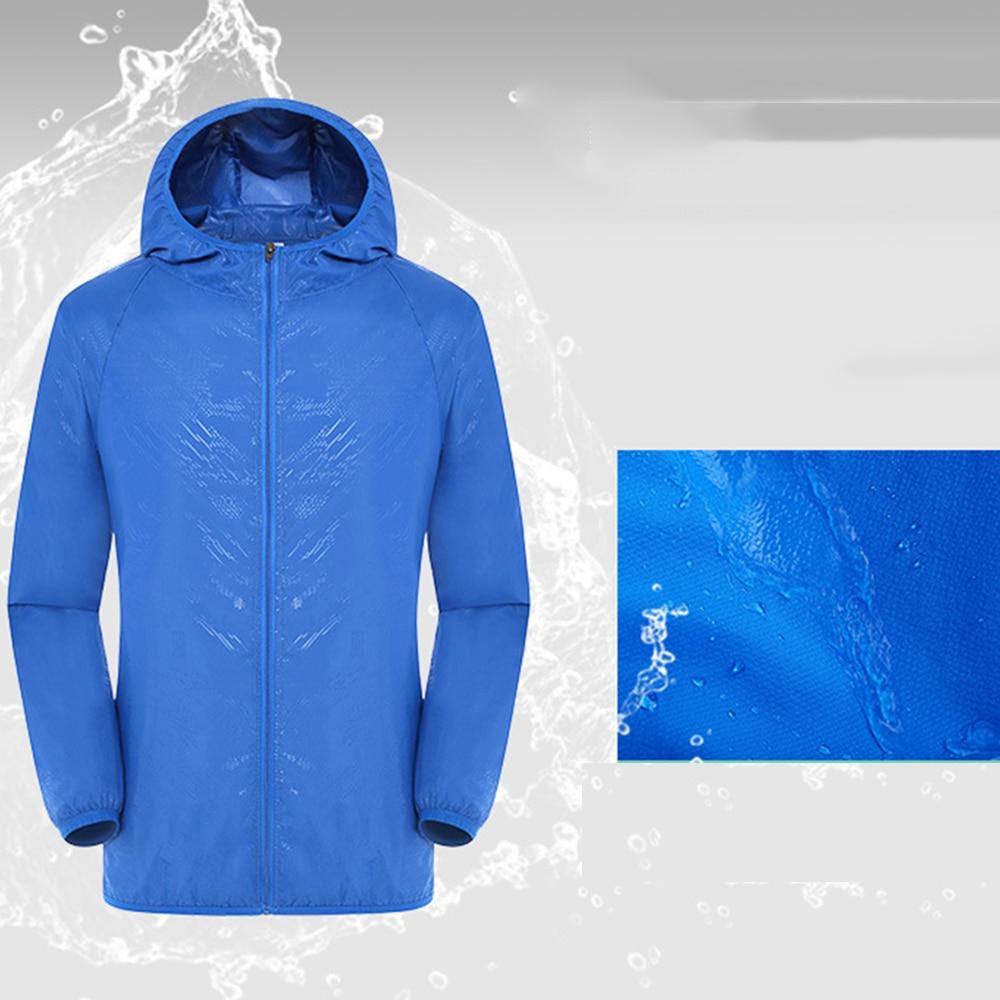 Sports-Jacket Ultra-Light Rainproof Windbreaker Hooded Long-Sleeve Summer Blue Zipper
