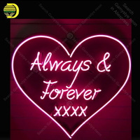 Neon Sign for Always & Forever Glass Tube Handmade Pink Heart neon light Sign Decorate home Iconic Neon Light Lamp Advertise