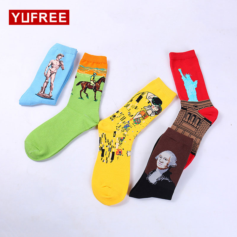 YUFREE 1 Pair Combed Cotton Colorful Van Gogh Retro Oil Painting Men Socks Cool Casual Dress Funny Party Crew Socks HE03