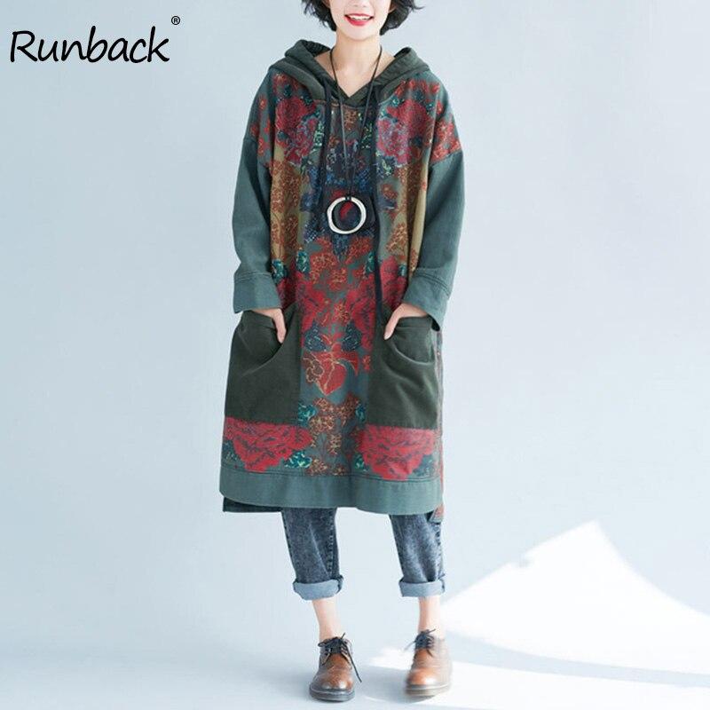 Runback femmes hiver vert robe grande taille rétro imprimé chaud coton à capuche femme vêtements épaule dénudée robe Vintage Largo