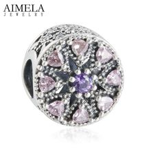 AIMELA 2016 Otoño Nueva Mezcla Púrpura CZ Piedra de Cristal Rosa 925 Abstract Medallón Encanto de Los Granos Para Hacer La Joyería