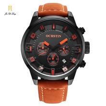 Marca OCHSTIN 2016 nuevo lujo hombres reloj de cuarzo multifunción impermeable reloj deportivo reloj de los hombres de moda reloj de cuero genuino