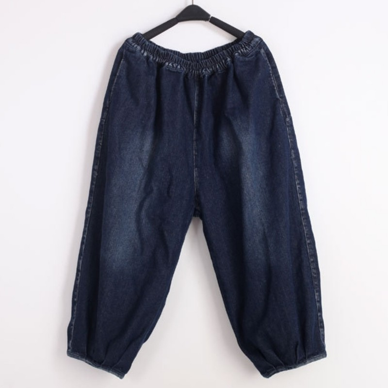 Azul Alta Blue Pierna Elásticos Moda Jeans Vintage Nueva Casual Mujer De Linterna Para La Calidad Cintura Ancho Pantalones Vaqueros Sólido Sueltos vUxSfw