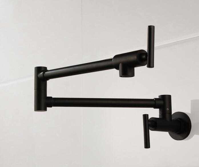 Free shipping Brass matte black kitchen faucet Single Handle Pot Filler Faucet Swing Spout Wall Mount